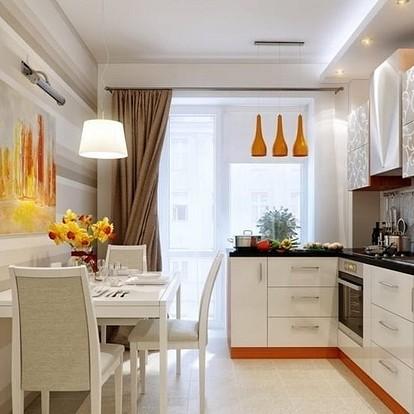 Красивые ассиметричные шторы для кухни на одну сторону